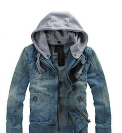 Wholesale 2014 new spring men clothing jean coat jeans outwear fleece demin jacket cotton coat hooded high quality detachable hood
