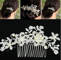 Wholesale In Stock High quality Beautiful Crystal pearl Stunning wedding bridal crystal flora Tiaras hair accessory headpiec JH02052