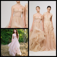 Wholesale Vintage Champagne A Line Wedding Dresses Organza Ruffles Bridal Gown Sweetheart Strapless Layered Reem Acra Bridal Gowns Plus Size