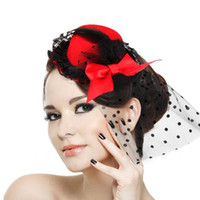 Fascinators Feather  Free Shipping Cheap $2.99 2014 Most Popular Red Party Cocktail Women Black Bow Feather Hair Clip Mini Top Hat Fascinator Hair Accessories