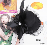 Wholesale Cheap Most Popular Black Party Cocktail Women Black Bow Feather Hair Clip Mini Top Hat Fascinator Hair Accessories
