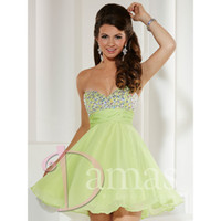 Reference Images Chiffon Sweetheart 2014 Fall Modern Sweetheart Crystals A Line Chiffon Homecoming Dresses Lime Green Short Prom Bridesmaid Graduation Gowns Mini 52330
