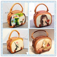 Wholesale Beauty Diagram Fashion Handbag Purse Rivet Lady Messenger bag Brown Doctor bags Cartoon Children s totes Shoulder bag Girls Shopping Wallet