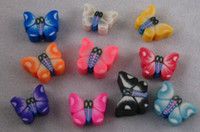 600PCS Mixed colour fimo polymer clay butterfly beads