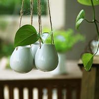 Wholesale 2014 New Zakka Nordic IKEA Style Hanging White Ceramic Flower Vase Eggs Bottle Compact Home Decoration