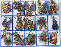 Wholesale Hot Sales Pairs Mixed Style Vintage Bronze Crystal Resin Fashion Earrings earrings New fashion jewelry Women Girls Earrings