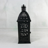 Wholesale Metal wedding decoration gift candle holder house shop decoration Iron lantern vintage black color