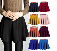 Wholesale Fashion Hot Sexy Women Bust Skirt High Waist Plain Skater Flared Pleated Casual Cotton Mini Skirt Sundress Colours