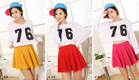 Linen plain jerseys - 2015 New Spring Summer Casual Sexy Women Mini Skirt High Waisted Flared Pleated Jersey Plain Skater Short TUTU Skirts