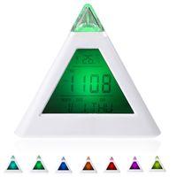 battery Alarm Clocks Alarm Clock 50pcs Single 7 LED Color Changing Pyramid Digital LCD Alarm Clock Thermometer C F Desktop Table Clocks Despertador Weather Station H10296