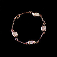 rose water - Fashion K Rose Gold Plated Water Drop Rhinestone Chain Bracelets for Women