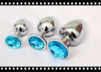 Butt Plugs jeweled butt plug - Unisex Butt Toys Plug Anal Silver Insert Stainless Steel Metal Plated Jeweled Sexy Stopper A450