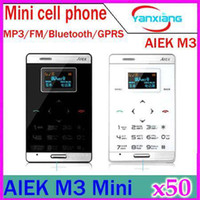 No Smartphone No Brand  DHL 50PCS 6.5mm Thin AIEK M3 Cool Card Cell Phone Child Kid Mini Phone Backup Low Radiation Phone YX-PH-47