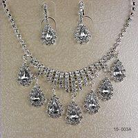 Earrings & Necklace earrings fashion earrings - Cheap Hot Fashion Elegant Wedding Bridal Prom Rhinestone Crystal Jewelry Necklace Earring Set Bridal Accessories