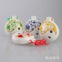 Wholesale MASTERPIECE PROFESSIONAL CERAMIC POTTERY OCARINA FLUTE hole Ocarina Tone C Alto C tune Taichi blue and white porcelain Ocarina