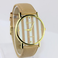 Wholesale Geneva Watch PU Strap Quartz watches Analog Gold dial Casual Wristwatch Dropshipping