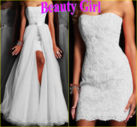 Reference Images White Strapless In Stock New A-Line Floor-Length Sweetheart Appliques Two Pieces Formal Gown Wedding Dress For Sale Free Shipping 2014