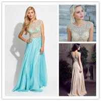 2014 Charming Scoop Prom Dresses Crystal Beaded Backless Eve...