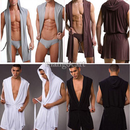 Wholesale Men s Bathrobe Leisure Lounge Robe Hooded Sexy Meryl Silk Soft Gown Pajamas Male Robe