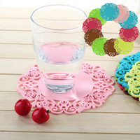 Wholesale 10 Colored Lace Cup Mat PVC Round Coaster Tea Placement Accessories for Table Kitchen Novelty Households