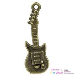 Wholesale Charm Pendants Guitar Antique Bronze x10 mm K02957