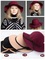 Wholesale 2014 new Europe fashion for autumn winter kids childrens girls woolen hats caps girl s hat