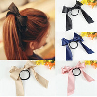Wholesale Hot Womens Multicolor Satin Ribbon Bow Hair Band Rope Scrunchie Ponytail Holder JH01053