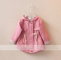 Cheap baby girl kids vintage rose flower floral print coat tench trench coat cardigan blazers outfits Jacket shawl cotton dress polka dots 6