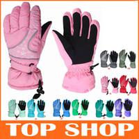 Wholesale Waterproof Windproof Female Unisex Models Ski Gloves Warm Ski Gloves Colors Free size Winter Outdoor Full Finger Gloves HW0158
