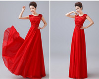 Wholesale New Arrival Free Ship Fancy Fashion Scoop Sleeveless Backless Chiffon Lace Crystal Beading Floor Length A Line Evening Dresses