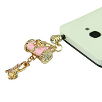 Wholesale Bling Rhinestone mm Anti Dust Dustproof Earphone Audio Headphone Plug Stopper Handbag High heel Shoe Cellphone Pendant Pink