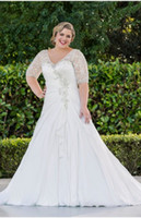 Wholesale 2014 V Neckline Elbow Half Length Sleeves Pleating Lace Appliques Beaded A Line Plus Size Wedding Dresses With Sleeves
