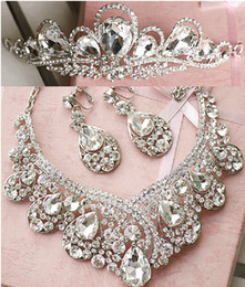 Wholesale New Luxury Rhinestone Crystal Necklace Earrings Fashion Bridal Three piece Bridal Wedding Tiaras Crown Hair Wedding Accessories Cheap Online