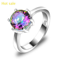 Solitaire Ring austrian crystal jewelry vintage - Vintage Sterling Silver Plated Queen Fancy Natural Mystic Topaz Round Gemstone Jewelry Austrian Crystal Wedding Ring for lovers CR0471
