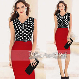 Wholesale New elegant woman work dresses Dot mosaic knitting Dress formal dresses for office Green Red color S M L XL XXL with belt