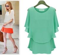 Crew Neck Short Sleeve Long Details about Korean Fashion Women's Loose Chiffon Tops Short Sleeve Casual Blouse L-XXL