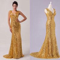 Shiny Golden Sequins Sparkle Mermaid Prom Dress Formal Eveni...