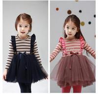 TuTu Summer Ball Gown phelfish Korean girls princess stripe gauze dresses children long sleeve one piece kids spring clothing wholesale pink blue 13913 tdlgmy