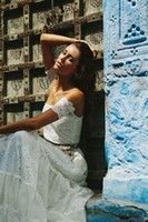 Wholesale Boho gypsy lace wedding dress with stunning lace arm bands and panelled skirt
