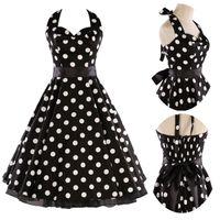 Black or White Polka Dot 50s Rockabilly Swing Dress Flared V...