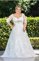 Wholesale 2014 Plus Size Wedding Dresses with Sleeve Half Sleeve A Line With Lace High Back Neck Wedding Gowns