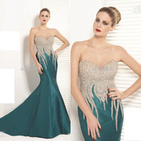 Reference Images Sweetheart Satin 2014 Evening Gowns Tarik Ediz Sweetheart Backless Crystals Dark Green & Red Mermaid Satin Floor Sexy Prom Dresses Evening Dresses TE 92048