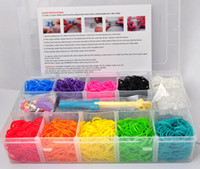 0-12M Multicolor Plastic Rainbow loom kit clear plastic box for Kids DIY bracelets with 3000pcs rubber bands, 90 clips, 10 small charms 1 hook 1 loom 1:1 Top Quality