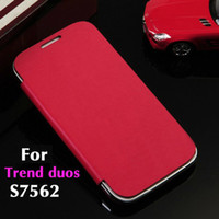 Wholesale For Samsung Galaxy S Duos s7562 Flip Leather Back Cover Cases Original Battery Housing Case Screen Protector