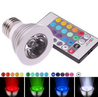 3W 24v e27 led - 2014 Hot Sales W Led RGB Bulbs Light E27 DC12V V High Bright Colorful Led Spotlights With Remote Control