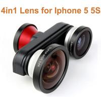 Staccabile professionale 4 in 1 occhio di pesce + Macro + Super Wide + autoscatto Fisheye cellulare fotocamera lente Kit per iPhone 5 PA1580 5S