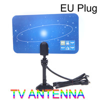 Wholesale New Digital Indoor TV Antenna HDTV DTV HD VHF UHF Flat Design High Gain EU US Plug V560
