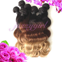 Wholesale Ombre Indian Virgin Hair Body Wave Ombre Hair Extensions Remy Human Hair Weft Color Tone b Top Quality Human Hair Weaves