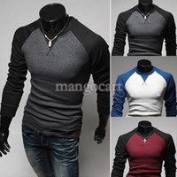 Men Polo Cotton,Polyester 2014 New top Quality Men Casual Slim T-shirt Round Neck Long Sleeved Man Color Stitching T-shirt 3 Colors XL,XXL b4 SV004543