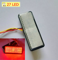 Universal atv turn signals - white Lens Rectangle Red Brake Light turn signal light for Universal Motorcycle ATV Scooter Reflector